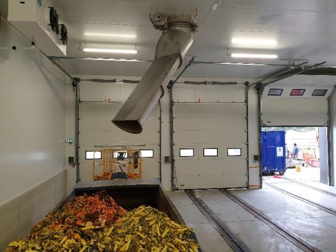 Verdeelgoot boven inpandige container